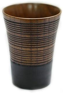 木製 焼酎カップ 茶 筋彫布貼り 230cc