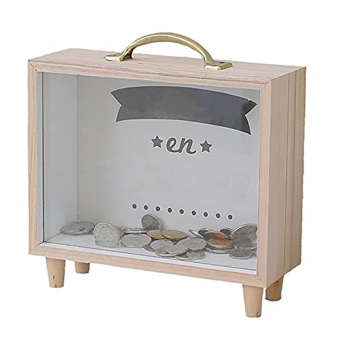 DEWTOP Sparbüchsen Holzgeldbox transparentes Sparschwein kann Geld/Münze/Bargeld/Änderung nach Hause zurückziehen/abheben Spardose mit Schloss