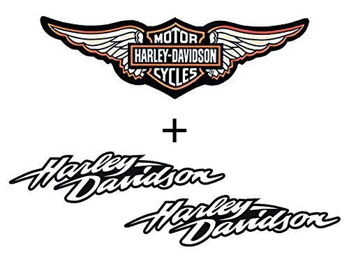 Retro-Aufkleber, reflektierend, für Motorradhelm, Harley Davidson Pack (3 Sticker)
