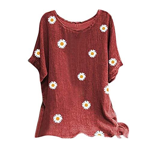 Camisetas Mujer Manga Corta Tallas Grandes Cuello Redondo Casual Tops Verano Moda Flores Impresión Algodón Camisa Blusa Basica Fiesta Camiseta Suelto T-Shirt Original tee
