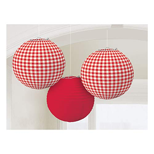 "Amscan Delightful Picnic Party Red Plaid Round Lanterns Decoration, Paper, 9.5"", Pack of 3"