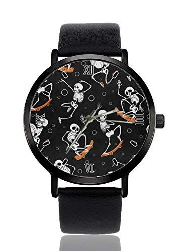 Armbanduhr mit Totenkopf-Skateboard-Motiv, für Damen und Herren, Quarzuhrwerk, schwarzes Armband