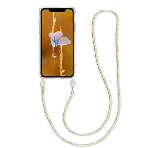 kwmobile Cover a Tracolla Compatibile con Apple iPhone 11 - Back Case in Silicone Cover con Laccio Metallico per Il Collo - Custodia con Cordino in Metallo