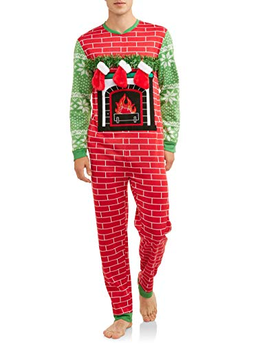 Dec 25th Mens Lighted Ugly Fireplace Stocking Christmas Sweater Union Suit Pajamas (Large (42-44)) Red