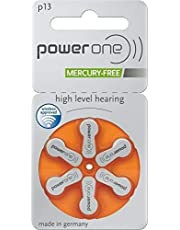 Power One P13 Hearing Aid Battery Mercury free Battery (Silver) 60 Cells(10 * 6 Battery)