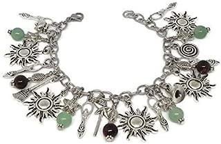 Sun and Goddess Charm Bracelet - Summer Solstice Jewelry - Pagan, Litha, Misummer Gift