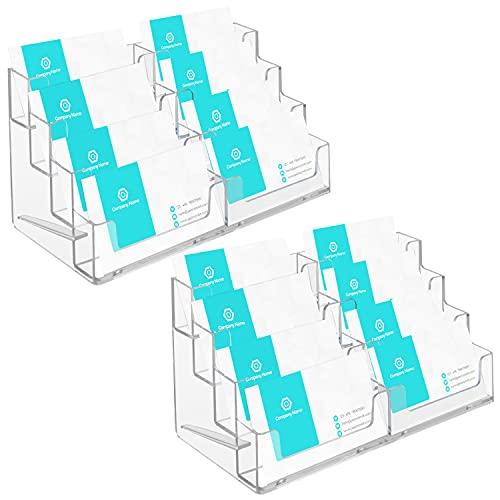 Belle Vous Porta Tarjetas de Visita de Acrílico Transparente (2) Para Hasta 320 Tarjetas – Tarjetero Plastico 4 Niveles de Sobremesa – 8 Compartimentos Organizador Tarjetas Oficina, Hoteles, Encimeras