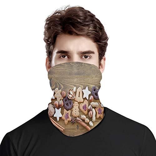 FULIYA - Grande copertura per il viso, protezione per sciarpe, torte assortite e dolci in glassa noci e pan di zenzero con stelle smaltate, sciarpa unisex