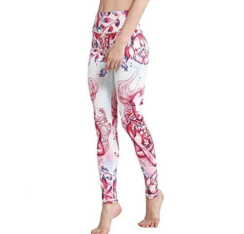 Pink Long-Haired Girl 3D Printing Fitness para Mujer Yoga Medias Deportivas De Cintura Alta Pantalones Elásticos De Impresión Romántica Running-L