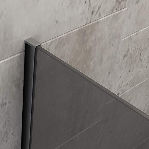 Wandanschlussprofil für BERNSTEIN Duschabtrennung Walk-In EX101 - Farbe & Glasstärke wählbar, Farbe:Schwarz, Glasstärke:8 mm