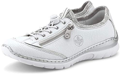 Rieker Damen Frühjahr/Sommer L32P2 Slip On Sneaker, Weiß (Weiss/Argento/Silverflower/ 80 80), 37 EU