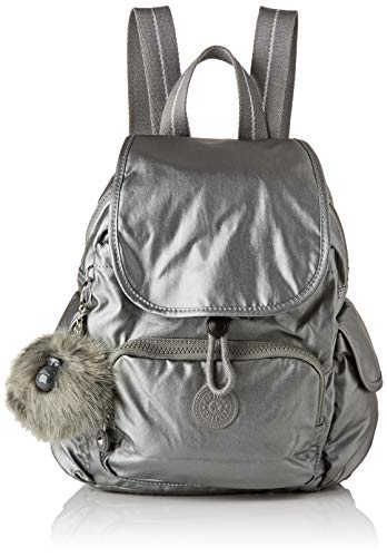 Kipling Damen City Pack Mini Rucksack, Grau (Metallic Stony), 27x29x14 Centimeters