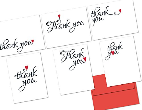 Thank You Cards – 72 Pack – Sweetheart Thank You – 6 Unique Designs – RED ENVELOPES INCLUDED – Blank Greeting Card – Glossy Cover Blank Inside – By Note Card Café
