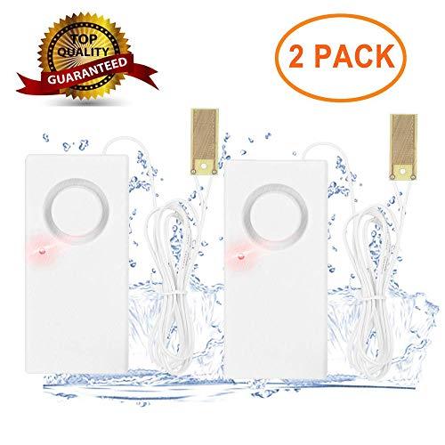 Detector de Fugas de Agua - 2 Unidades de Sensor de Fugas de Agua Detector de desbordamiento de Alarma con Sirena de 120 dB Funciona con batería para Uso doméstico