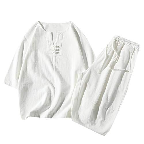 Yowablo Shorts Set Suit Survêtement Summer Fashion Hommes Coton et Lin à Manches Courtes (3XL,2Blanc)
