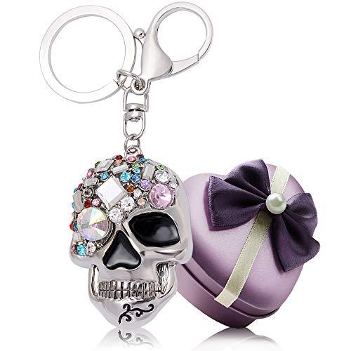 YGMONER Crystal Keychain Car Keyring & Bag Accessory Free with Gift Box (Skull)