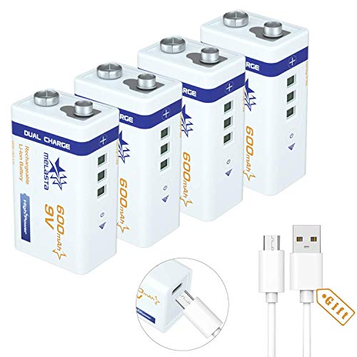 melasta USB 9 V 600mAh Akku wiederaufladbar Li-Ion 6F22 PP3 MN1604 6LR61 9V batterien mit USB-Kabel für Tastatur Mikrofon Rauchmelder (4 Stück USB-Akku und 1 Kabel)