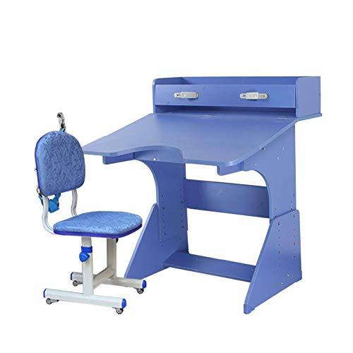MOMIN Kindersitzgruppe Holz for Kinder Studie Tabelle Kindertisch Und Stühle for Junge Mädchen Drawer Bleistift Slot Kids School Workstation (Farbe : Blau, Größe : 80X79X83CM)