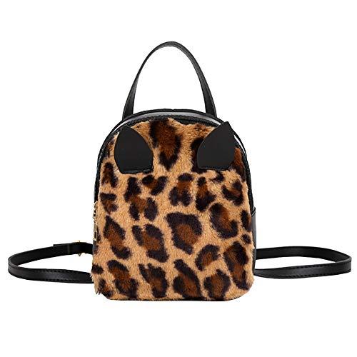 Originaltree Moda Leopard/Solid Color Gato Orejas de Peluche Cremallera Mujer Mochila Escolar Leopardo