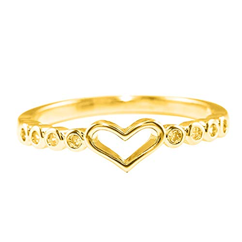Janly - Anillo de oro rosa con diamantes para mujer, color blanco natural, romántico, joyería de boda, día de San Valentín, color, talla L