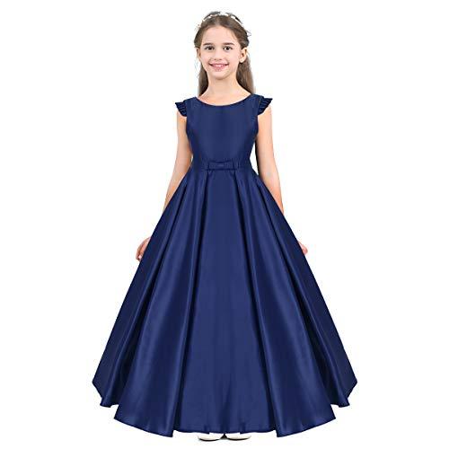 dPois Mädchen Festliches Kleid Abendkleid Ballkleid Blumenmädchen Prinzessin Satin Kleid Maxi A-Linie Ärmellos Elegant für Hochzeit Geburtstag Party Blau 152/12 Jahre