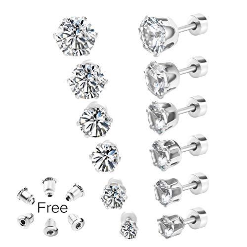 20g Simulated Diamond Earrings Fake Diamond Ear Studs Flat Back Faux Diamond Post Earrings For Women Men Cubic Zirconia Cz Piercing Jewelry Kauf Com Is Exciting