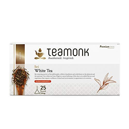 Teamonk Sei Nilgiri té bianco - 30 bustine di tè | té bianco in foglie | potente tè antiossidante | tè per la pelle luminosa | tè per aumentare l'immunità | senza additivi