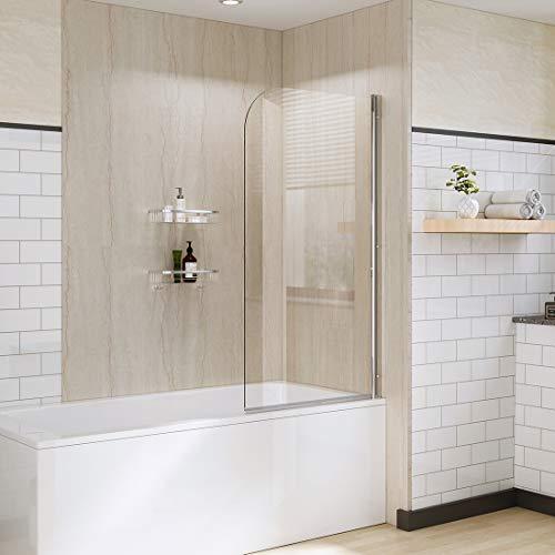 Duschwand für Badewanne 80 x 140 cm Duschabtrennung Badewannenaufsatz Duschtrennwand 6mm Nano ESG Sicherheitsglas, Schwenkbar 180º