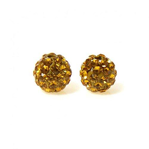 Présentoirs pour Bijoux Perles shamballa Rondes 64 Strass en Cristal 10mm (5 pièces) Doré