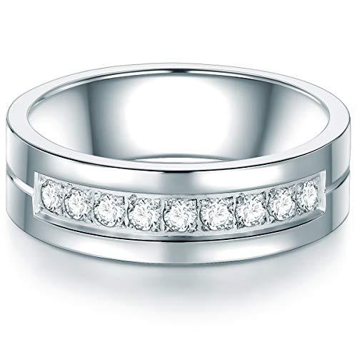 Tresor 1934 Damen-Ring Edelstahl Zirkonia weiß Brillantschliff - Zirkonia-Memoirering Verlobungsring Zirkonia Brillantschliff Edelstahl-Verlobungsring
