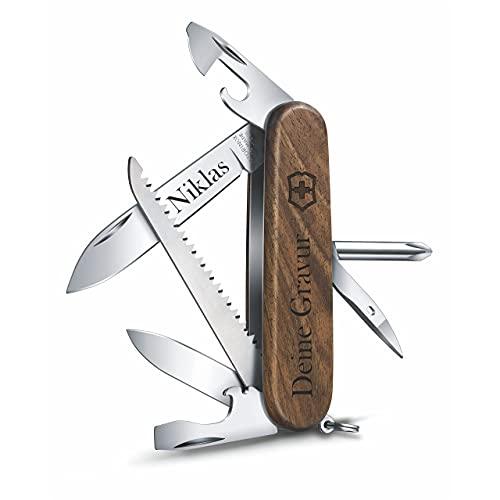 Victorinox Taschenmesser Hiker Wood aus Holz mit Gravur I Geschenk für Männer Frauen I zum Geburtstag I Schweizer Taschenmesser personalisiert Griff Klinge (Gravur am Griff)
