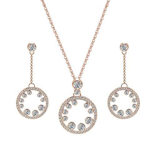 Collar Colgante Joyería Conjunto Simple De Collar De Pendientes De Color Oro Rosa para Mujeres De Moda Conjunto De Joyas De Cristal Brillante para Fiestas