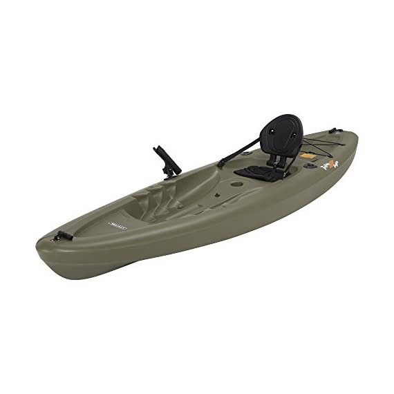 Lifetime triton angler 100 fishing kayak, olive green 6 stable hull design and integrated skeg for tracking performance multiple footrest positions for different size paddlers - 275 lb. Weight capacity self-bailing scupper holes to drain water from the cockpit and tankwell