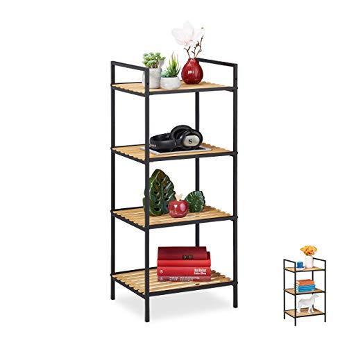 Relaxdays Standregal 4 Ablagen, Bambus & Metall, offenes Regal, Stehregal Flur, HxBxT: 95 x 39 x 32,5 cm, braun-schwarz, 1 Stück