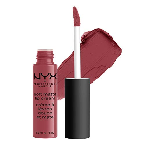 NYX PROFESSIONAL MAKEUP Soft Matte Lip Cream, High-Pigmented Cream Lipstick - Budapest, Deep Mauve With Red Undertone