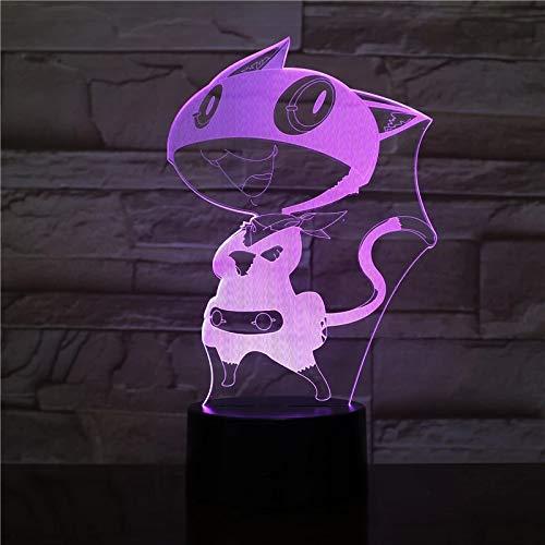 Multi-color 3D Luz de noche Usb Gato de dibujos animados LED Lámpara de hadas Lámpara de escritorio Decoración de oficina Regalo de vacaciones