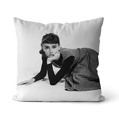Pay Tribute Funda de Almohada Audrey Hepburn 40x40cm Ícono de la Moda Funda de Almohada de Lino Audrey Hepburn con impresión de Alta definición y Cremallera Invisible