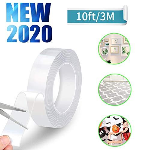両面テープ 魔法テープ 透明 超強力 のり残らず 繰り返し可能 水洗可能 多用途 多サイズ 家庭 オフィス 寮 ...