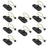 Clips de Lona, 10 Clips de Lona con Cuerdas elásticas, Clips de Lona Resistentes, Accesorios para toldos, utilizados para Tiendas de campaña, toldos, jardinería, Acampar al Aire Libre