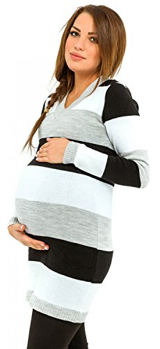 Happy Mama Donna Vestito prémaman in Maglia a Righe Multicolori. 405p (Nero, One Size IT 40/42/44, One Size)