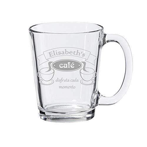 Taza de café, taza de vidrio transparente, personalizada con grabado - estándar