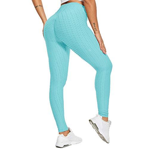 SotRong - Pantalones de yoga para mujer, cintura alta, con fruncido, para gimnasio, control de barriga, levantamiento de glúteos, Otoño-Invierno, Mujer, color azul, tamaño 38-40