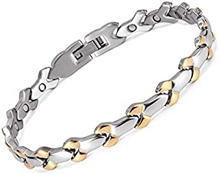 RainSo New Ladies Magnetic Health Stainless Steel Bracelet Strong MagnetsTherapy Bracelet for Women Pain Relief in Gift Bag+Free Removal Tool