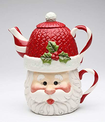 Fine Ceramic Joyful Christmas Santa with Swirl Candy Cane Design Tea for One Set (Teapot with Cup Set), 7 1/2' L