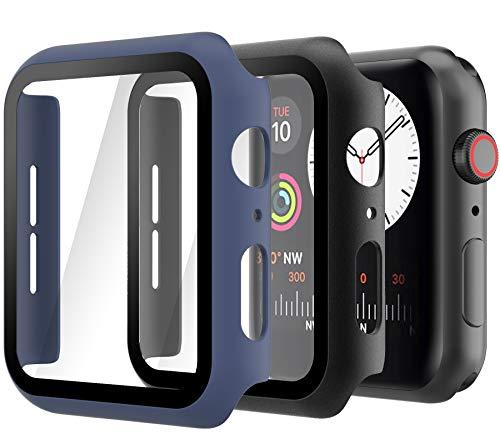 Hianjoo 2 Piezas Funda con Protector de Pantalla Templado Compatible con Apple Watch 44 mm, PC Cubierta Estuche Compatible con iWatch...