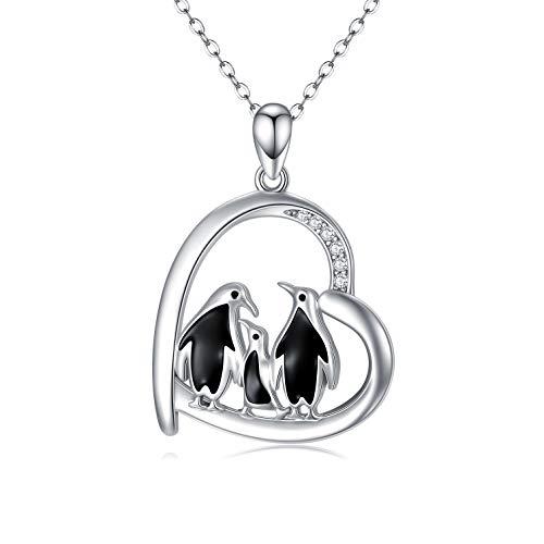Pinguin/Panda Halskette, 925er Sterlingsilber, süßes Tier-Herz-Anhänger, Halskette, Mumiengeschenke für Frauen, 45,7 cm + 5,1 cm Silberkette