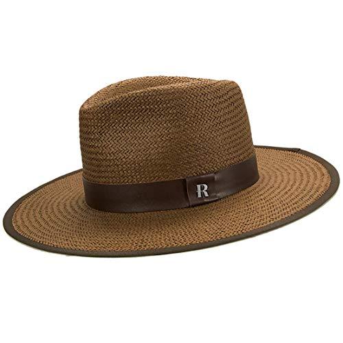 RACEU ATELIER Sombrero Paja Florida Marrón - Estilo Fedora - Sombreros de playa de Ala Ancha - Sombrero de Paja
