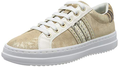 Geox Mädchen D PONTOISE D Sneaker, Beige (Sand/Lt Gold C5258), 35 EU