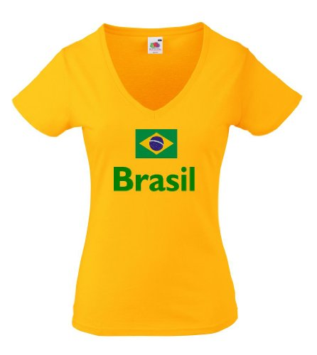 Fruit of the Loom Brasilien Damen T-Shirt Brasil Trikot|M