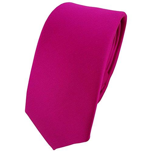 TigerTie schmale Satin Krawatte in magenta einfarbig uni